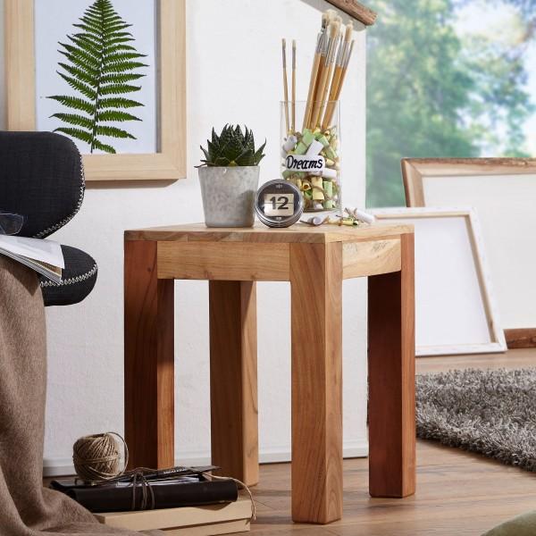 WOHNLING Beistelltisch MUMBAI Massiv-Holz Akazie 35 x 35 cm dunkel-braun