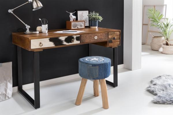 WOHNLING Schreibtisch PATNA 120 x 60 x 79 cm Massiv Holz Laptoptisch Mango Natur | Landhaus-Stil