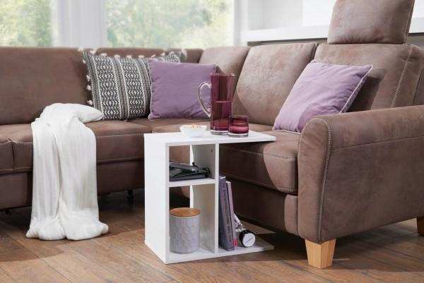 WOHNLING Beistelltisch MILO 50x50x30 cm Holz Weiß Design Anstelltisch Sofa