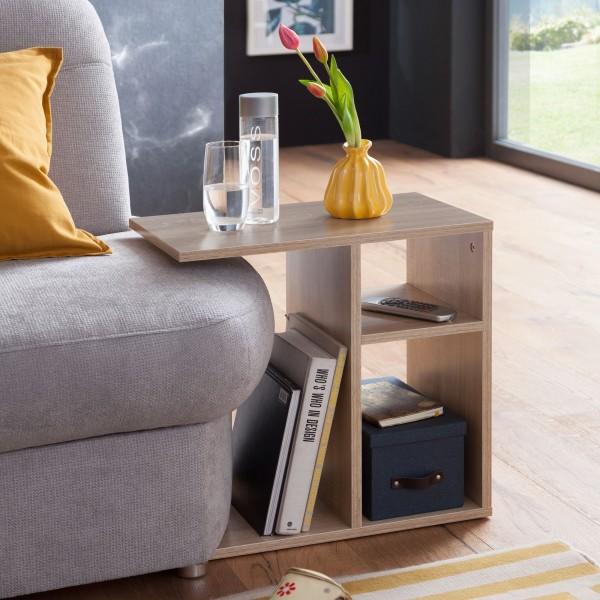 WOHNLING Beistelltisch MILO 50x50x30 cm Holz Sonoma Design Anstelltisch Sofa   Couchtisch klein