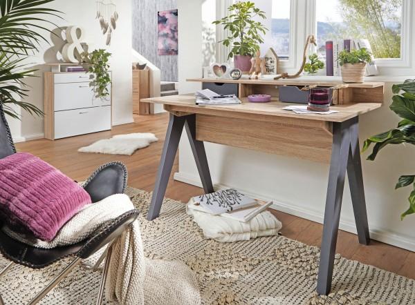 WOHNLING Design Schreibtisch 120 cm mit Schubladen Sonoma / Weiß