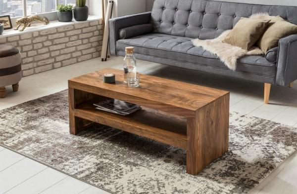 WOHNLING Couchtisch MUMBAI Massiv-Holz Durban Sheesham 110 cm breit Wohnzimmer-Tisch Design braun