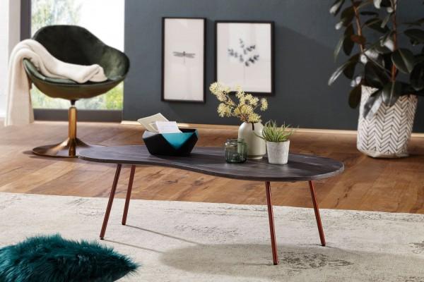 WOHNLING Design Couchtisch JAI 122x34,5x63 cm Akazie mit Metallbeinen Kupfer | Nierentisch