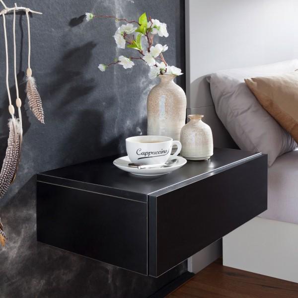 WOHNLING Nachtkonsole DREAM für Wandmontage 46x15x30cm Schwarz Nachttisch Holz