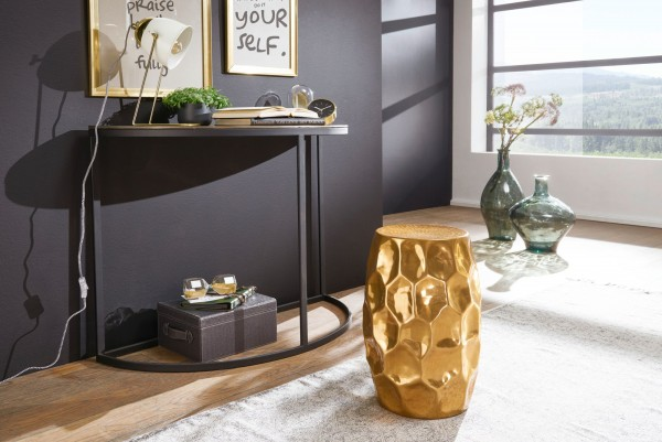 WOHNLING Beistelltisch JADA 30x47x30cm Aluminium Gold Dekotisch orientalisch rund | Hammerschlag