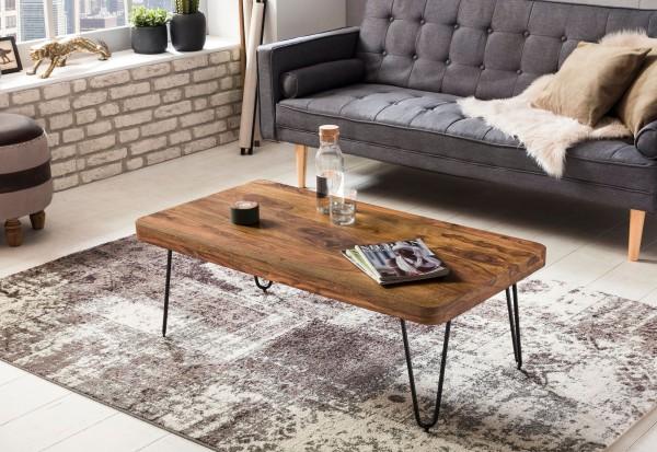 WOHNLING Couchtisch BAGLI Massiv-Holz Sheesham 115 cm breit Wohnzimmer-Tisch Design Metallbeine