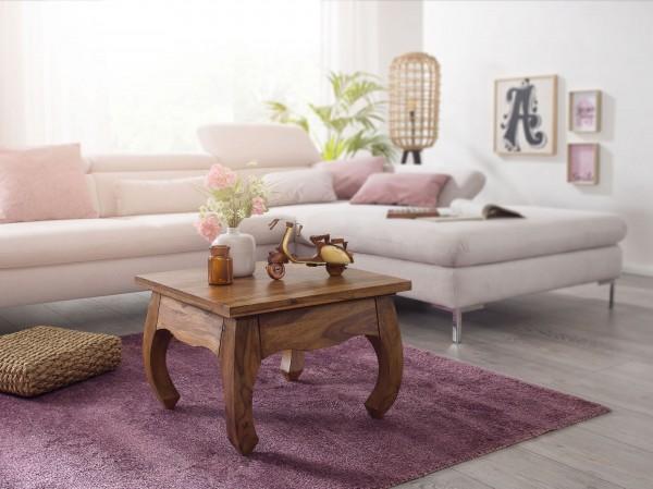 WOHNLING Couchtisch OPIUM Massiv-Holz Sheesham 60 cm breit Wohnzimmer-Tisch Design dunkel-braun