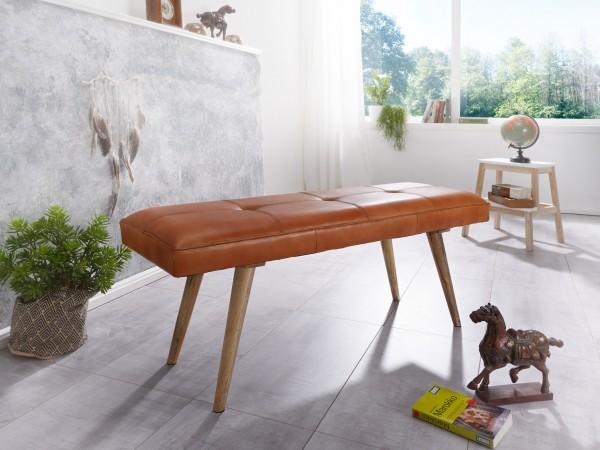 WOHNLING Sitzbank SALIM Ziegenleder / Massivholz Bank 117 cm im Retro Stil