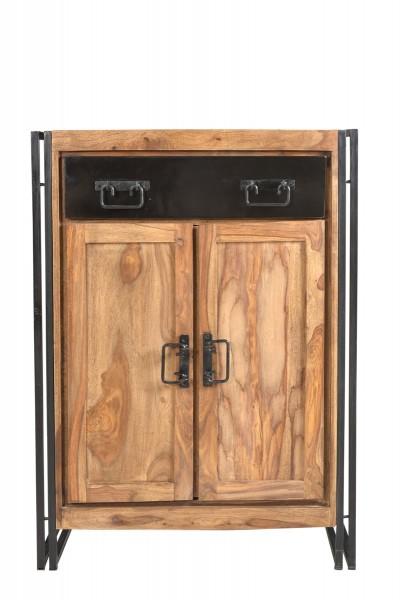 Sit Möbel PANAMA Hochkommode Akazie | L 75 x B 35 x 110 cm | natur / antikschwarz | 09269-01 |