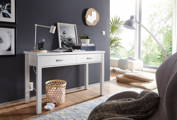 WOHNLING Schreibtisch SAM Weiß mit 2 Schubladen 120 x 77 x 50 cm modern | Konsolentisch Schminktisch