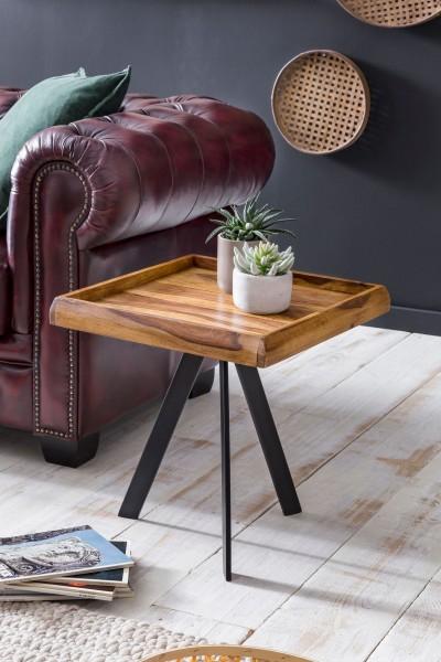 WOHNLING Beistelltisch 45 x 48 x 45 cm WL5.655 Sheesham Holz Metall Couchtisch | Industrial Style