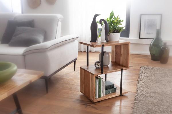 Beistelltisch S-Form 45 cm Akazie Metall Ablagetisch | Tischchen Wohnzimmer Industrial | Holzti