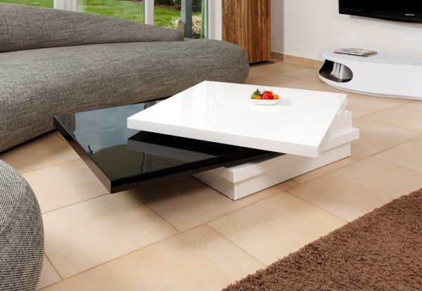 SalesFever Design Couchtisch 120X80 cm weiß/schwarz