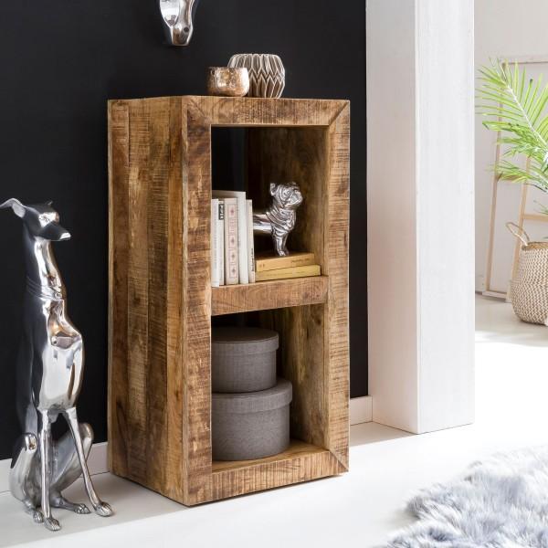 WOHNLING Standregal RUSTICA Massivholz Mango 2 Böden | Design Holz Regal Natur