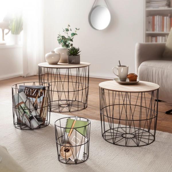 Wohnling Design Beistelltisch 4er Set aus Körben Schwarz / Eiche Korbtische mit abnehmbaren Tablett