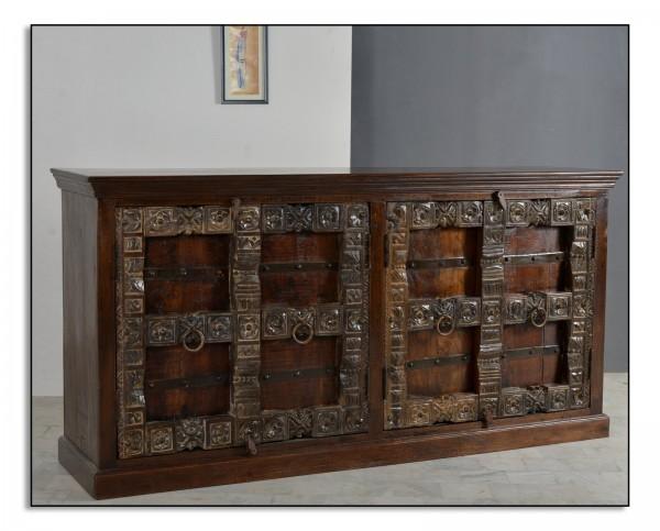 SIT Möbel Sideboard | 4 Türen | recyceltes Altholz | braun | B 180 x T 45 x H 90 cm | 05103-30