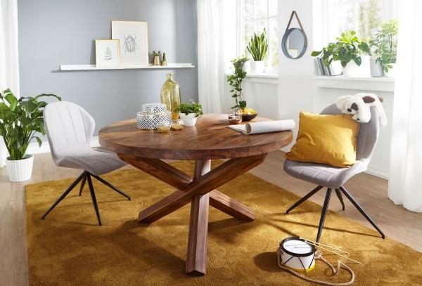 WOHNLING Design Esszimmertisch BOHA rund Ø 120 cm x 75 cm Sheesham Massiv-Holz | Landhaus Esstisch 4