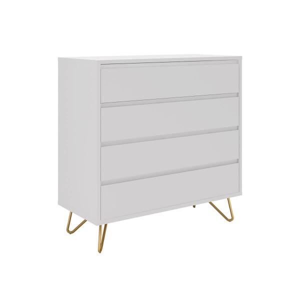 SalesFever Kommode 90 cm breit mit 4 Schubladen, weiß 393598