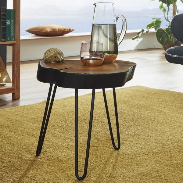Wohnling Design Beistelltisch BAGLI Massivholz Sheesham Holzscheibe 35 x 35 cm