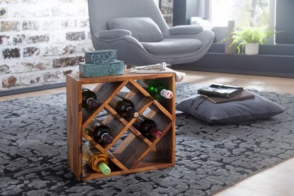 WOHNLING Weinregal WL5.673 Sheesham Massivholz 40x40x25cm Holzregal 8 Flaschen