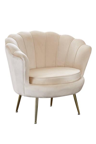 SalesFever Muschel-Sessel | Bezug Samt-Stoff | Gestell Metall goldfarben | B 76 cm | beige