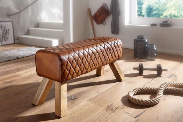 WOHNLING Sitzbank Design Echtleder Massivholz 89 cm