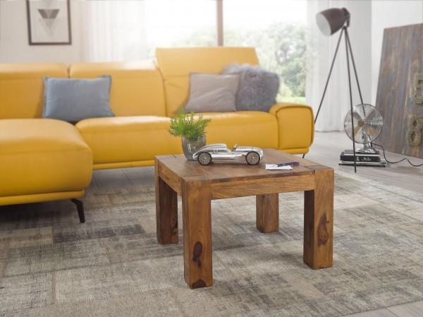 WOHNLING Couchtisch MUMBAI Massiv-Holz Sheesham 60 cm breit Wohnzimmer-Tisch Design dunkel-braun