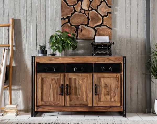 SIT Panama Sideboard aus Akazie-Holz 3 Schubladen und 3 Türen natur mit antikschwarz B 140 cm