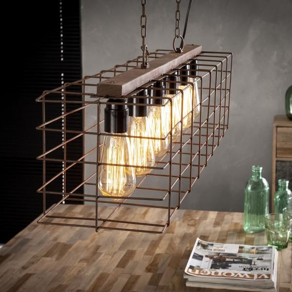 Stil Hängeleuchte 150 cm mit 6 Leuchten im Industriellem Stahldrahtkäfig