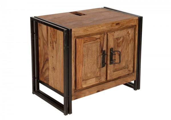 SIT Möbel Panama Bad-Unterschrank | 2 Türen | Akazie natur | Altmetall antikschwarz | 67 cm |