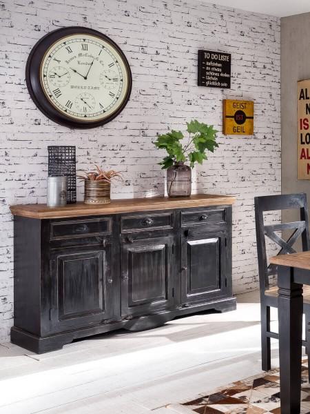 SIT Corsica Sideboard 150 cm | aus Mangoholz und MDF | 3 Schubladen und 3 Türen | schwarz-honigfarbe