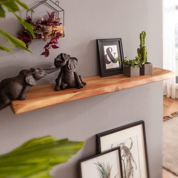 Wandregal mit Baumkante Akazie Massivholz 80 cm