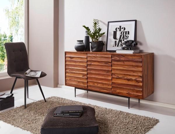 WOHNLING Sideboard Sheesham Massivholz 150 cm Landhaus Design