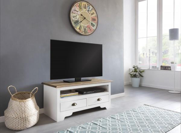 WOHNLING Design HiFi Lowboard 100 cm MAYLA Kiefer Massivholz Kommode Weiß
