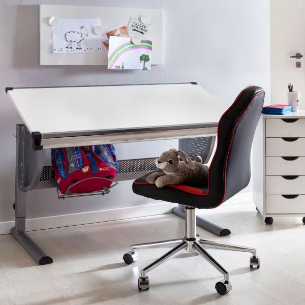 WOHNLING Design Kinderschreibtisch MAXI Holz 120 x 60 cm grau / weiß Schülerschreibtisch