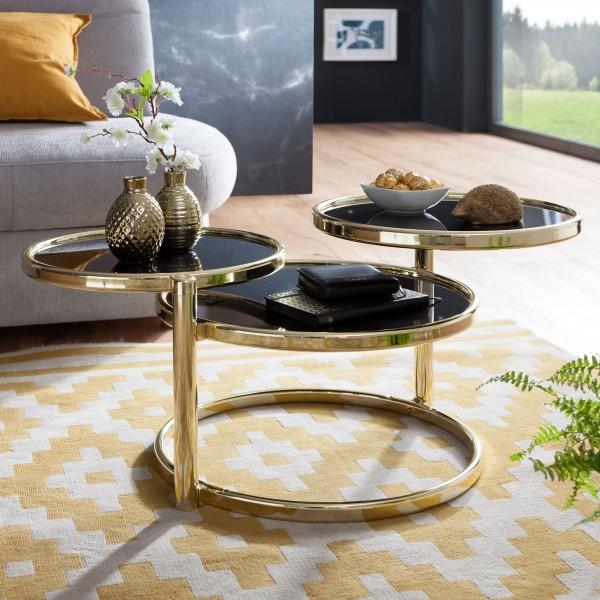 WOHNLING Couchtisch SUSI mit 3 Tischplatten Schwarz / Gold 58 x 43 x 58 cm   Beistelltisch Rund