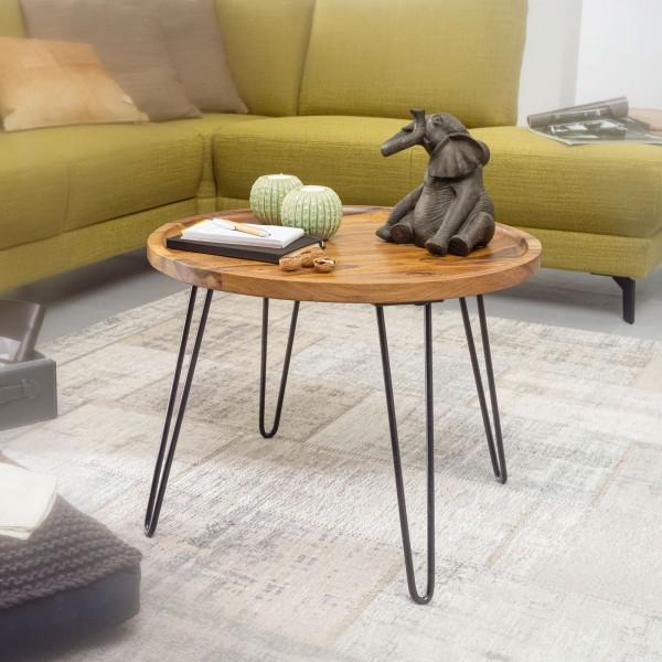 Wohnling Couchtisch 60 cm Rund Sheesham Massivholz Sofatisch mit Haarnadelbeine