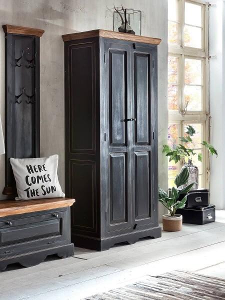 Sit Möbel CORSICA Schrank Mango | L 80 x B 45 x H 180 cm | schwarz mit honigfarbiger Deckplatte