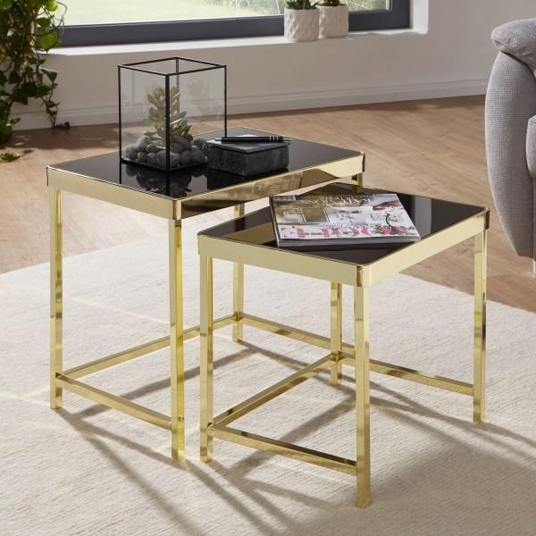 WOHNLING Satztisch VIOLA Schwarz / Gold Beistelltisch Metall/Glas | Couchtisch Set aus 2 Tischen