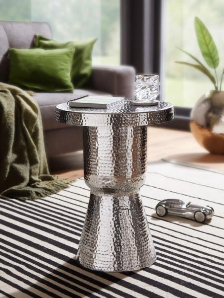 WOHNLING Design Beistelltisch DELYLA 43x59x43 cm Aluminium Silber | Dekotisch orientalisch rund