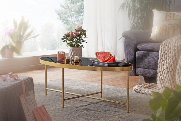 WOHNLING Design Couchtisch Glas Schwarz - Oval 110 x 56 cm mit Gold Metallgestell | Großer Wohnzimme