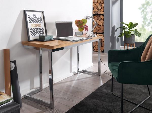 Wohnling Schreibtisch 140 cm Holz Metall Bürotisch Chrom Home-Office
