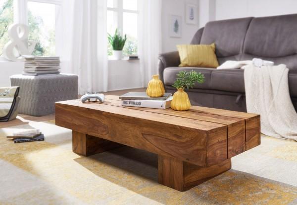 WOHNLING Couchtisch SIRA Massiv-Holz Sheesham 120cm breit Design Wohnzimmer-Tisch dunkel-braun