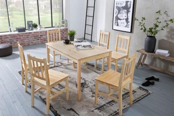 WOHNLING Tischgruppe 7 teilig Kiefer-Holz Landhaus-Stil 120 x 70 cm