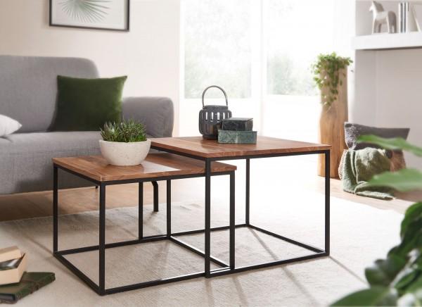 Moderne Beistelltische 2er Set Akazie Massivholz / Metall Eckig