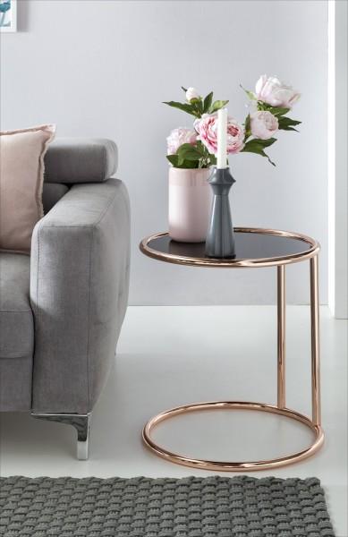WOHNLING Design Beistelltisch Metall Glas ø 45 cm Schwarz / Kupfer   Wohnzimmertisch verspiegelt