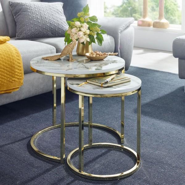 Design Beistelltisch 2er Set Weiß Marmor Optik Rund Tischgestell Metall Gold