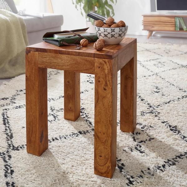 WOHNLING Beistelltisch MUMBAI Massiv-Holz Sheesham 35 x 35 cm Wohnzimmer-Tisch Design dunkel-braun