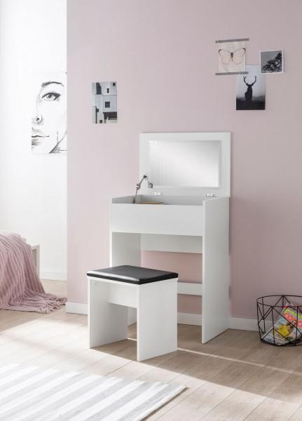 WOHNLING Schminktisch WL5.730 60x81x40 cm Weiß Konsolentisch Holz Modern | Kosmetiktisch mit Hocker