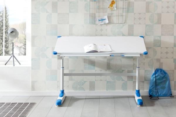 WOHNLING Design Kinderschreibtisch 119 x 67 cm Blau/tisch WL5.760 HolWeiß Maltisch